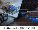 project manager working and... | Shutterstock . vector #1091855108