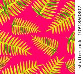 seamless pattern with palm... | Shutterstock . vector #1091860802