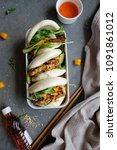 Small photo of Homemade Thai cuisine in Chinese guo bao / Thai Sweet Chili Tempeh Guo Bao Bento / Good for working people, outings as breakfast or light meal