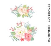set of decorations with flowers ... | Shutterstock .eps vector #1091864288