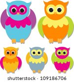 set of cute owls | Shutterstock .eps vector #109186706