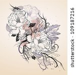 vector floral  illustration of... | Shutterstock .eps vector #109187216