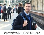 elegant man about to catch a...   Shutterstock . vector #1091882765