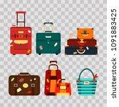 set travel bags on transparent... | Shutterstock .eps vector #1091883425
