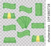 set different banknotes money.... | Shutterstock .eps vector #1091883728