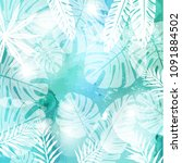 leaves on green watercolor... | Shutterstock .eps vector #1091884502