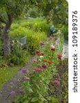 Flowerbed Along A Garden Path ...