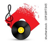 treble clef with vinyl record...   Shutterstock .eps vector #1091897345
