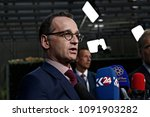 Small photo of Brussels, Belgium. 15th May 2018. Heiko Maas, Foreign Minister of Germany arrives at a meeting on Iran Nuclear deal.