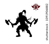 black silhouette of orc with... | Shutterstock .eps vector #1091906882