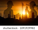 silhouette of team engineer... | Shutterstock . vector #1091929982