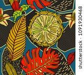tropical pattern in doodle... | Shutterstock .eps vector #1091930468