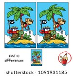 pirates island. a monkey on a... | Shutterstock .eps vector #1091931185