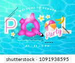 Pool Party Summer Vector...