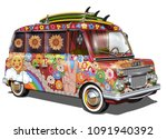 retro bus with surf boards | Shutterstock .eps vector #1091940392