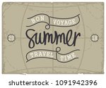 bon voyage. summer travel time. ... | Shutterstock .eps vector #1091942396