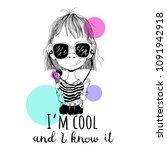 childish cartoon girl in... | Shutterstock .eps vector #1091942918