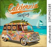 california surf poster with... | Shutterstock .eps vector #1091943185