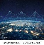 global communication technology ... | Shutterstock . vector #1091952785