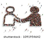 large and diverse group of... | Shutterstock . vector #1091954642