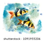 underwater inhabitants. sea... | Shutterstock . vector #1091955206