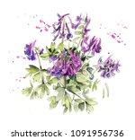 pattern from violets spring... | Shutterstock . vector #1091956736