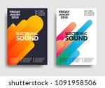 electronic music poster. modern ... | Shutterstock .eps vector #1091958506