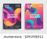 electronic music poster. modern ... | Shutterstock .eps vector #1091958512