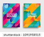 electronic music poster. modern ... | Shutterstock .eps vector #1091958515