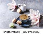 blue cup of black espresso... | Shutterstock . vector #1091961002