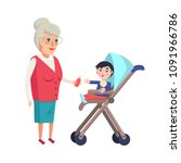 grandmother giving bottle with... | Shutterstock .eps vector #1091966786