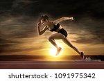 woman sprinter leaving starting ... | Shutterstock . vector #1091975342