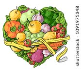 fruits  vegetables  heart and... | Shutterstock .eps vector #1091975348