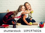 back to school and home... | Shutterstock . vector #1091976026