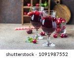 homemade fresh cherry juice in... | Shutterstock . vector #1091987552