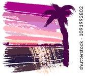 beautiful summer sunset and... | Shutterstock .eps vector #1091992802