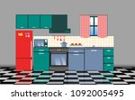 kitchen with furniture set | Shutterstock .eps vector #1092005495