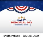 happy memorial day background... | Shutterstock .eps vector #1092012035