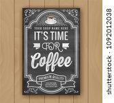 coffee shop decorate poster on...   Shutterstock .eps vector #1092012038