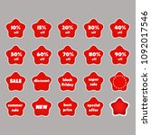a set of red stickers with... | Shutterstock .eps vector #1092017546