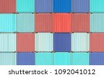 colorful stack of container... | Shutterstock . vector #1092041012