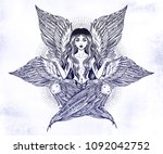 hand drawn romantic six winged... | Shutterstock .eps vector #1092042752