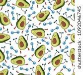 cute avocado seamless vector... | Shutterstock .eps vector #1092046745