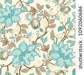 colorful floral pattern.... | Shutterstock . vector #1092060686