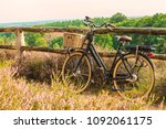 electric black cargo bicycle... | Shutterstock . vector #1092061175