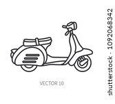 line vector icon retro tourism... | Shutterstock .eps vector #1092068342