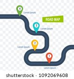 road map with colorful bright... | Shutterstock . vector #1092069608