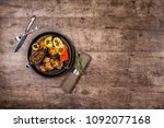 pork shish kebab with grilled... | Shutterstock . vector #1092077168