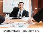 business  a man boss talking to ...   Shutterstock . vector #1092094172