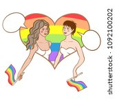 vector illustration of two gay... | Shutterstock .eps vector #1092100202
